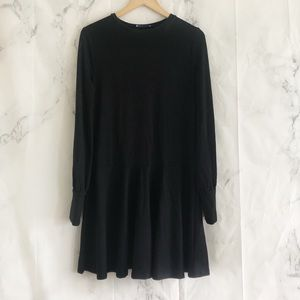 Zara basic black long sleeve medium dress